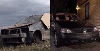 Фото: Renault Logan до ремонта и после, источник: скриншоты с YouTube-канала «ПриветТачка»