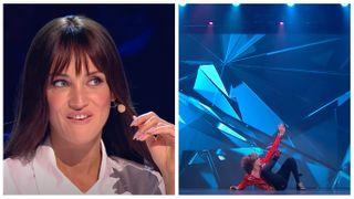 Татьяна Денисова смотрит на«танец» Патлаха. Фото: скриншот YouTube-канала «ТНТ»
