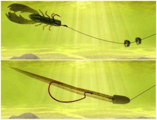 Оснастки сплит-шот (вверху), флоридская (внизу) под водой. Источник изображения: rybolov72.ru