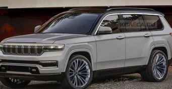 Из«бандитского» джипа вхромовое «ведро»: Первые рендеры нового Jeep Grand Cherokee разочаровали россиян