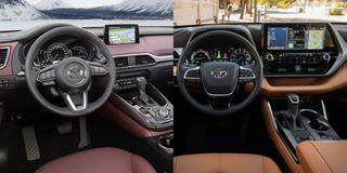 Фото: Слева— салон Mazda CX-9, справа— салон Toyota Highlander, источник: Mazda, Toyota