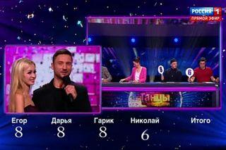 Оценки жюри для Сергея Лазарева иЕкатерины Осиповой. Источник: Youtube