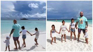 Фото: Джиган с детьми на Мальдивах. Источник: Покатим