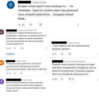 Отзывы зрителей «Голоса» наYouTube