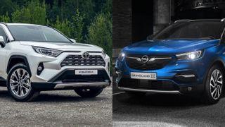 Фото: Слева— Toyota RAV4, справа— Opel Grandland X, источник: Toyota, Opel