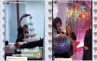 Торт ввиде диско-шара истолб издетского шампанского