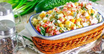 Салат «Везунчик» с консервированной фасолью и кукурузой
